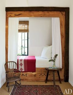 wonderful child's guest room with a chalet-style box bed nicknamed the Heidi Nook!