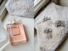Lydia Stamps Photography Weddings Shustoke Farm Barns Chanel Perfume Vintage Bag, Wedding Hair Clips