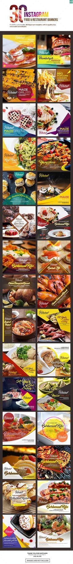 30 Instagram Food & Restaurant Banner Templates PSD