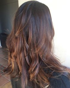 Caramel With a Pinch of Cinnamon. Perfect for you Dark haired pretties. Her base color was a colored level 4 When I started the #balayage. As you can see she has a softer brunette look with levels 5,6,7 to