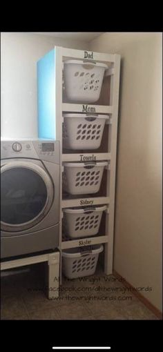 Organize your laundry room. Neat idea if you have the space. Organize your laundry room. Neat idea if you have the space. Organize your laundry room. Neat idea if you have the space. Laundry Room Organization, Laundry Room Design, Laundry Basket Storage, Kitchen Storage, Laundry Area, Storage Room Organization, Laundry Basket Holder, Laundry Basket Dresser, Laundry Room Baskets