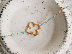 Delicate Clover Bracelet // Gold  Clover Bracelet by ransomjewelry