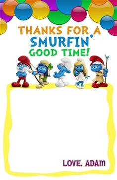 Smurfs Thank You Card 1 Birthday Thank You Cards, Printable Thank You Cards, Themes Free, Customer Service, Smurfs, Thankful, Coding, Digital, Prints