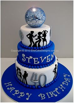 I <3 the glitter ball & I <3 the silhouettes!  I wouldn't want a blue cake though!  LOL