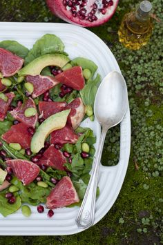 Grapefruit, avocado and edamame salad from Forest Feast. Served on arugula, but you great on it's own or the green leaf.