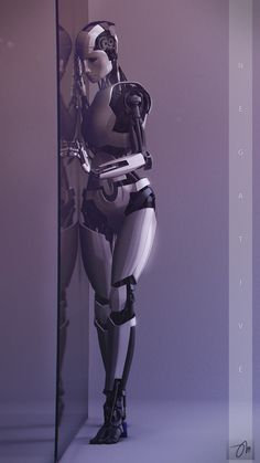 Female humanoid robot concept art, android, companion robot, robotics, future