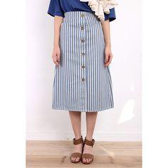 High Waisted Stripe A-Line Skirt