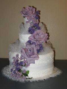 Purple Wedding Towel Cake by Caketini, via Flickr