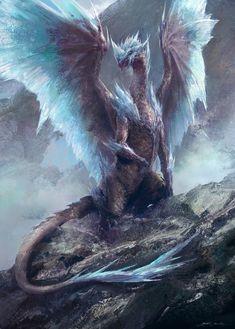 冰咒龙(Velkhana Fan-art), Mazert Young on ArtStation Fantasy Wesen, Fantasy Beasts, Fantasy Monster, Monster Art, Ice Monster, Female Monster, Monster High, Mythical Creatures Art, Magical Creatures