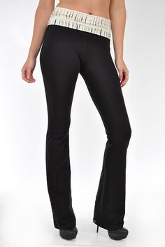 Black Soft Brush Stroke Yoga Pants