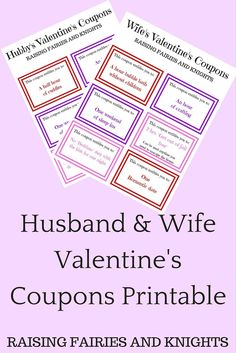 Husband & Wife Valentine's Coupons Printable - Need a last minute gift? A frugal gift? A heart-felt gift they REALLY want? Print them these home-made coupons. Nothing says love like giving them a break.