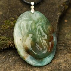 CA01203  Indian Agate Pendant Hand Carved Cameo by Artiststone