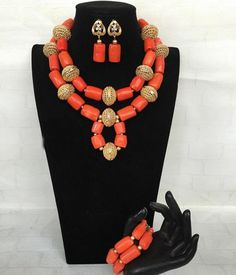 Fantastic Wedding Coral Bridal Beads Jewelry Set Big Coral Beads African Jewelry Set Women Statement Jewelry Set 2017 CNR807 -*- AliExpress Affiliate's buyable pin. Item can be found  on www.aliexpress.com by clicking the image #AfricanBeadsJewelry