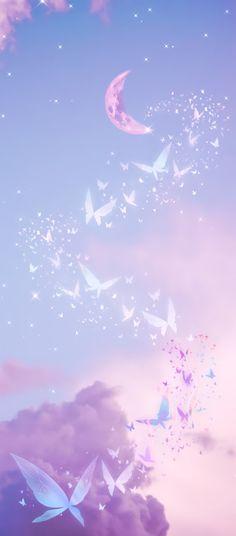 Purple/Lilac - butterflies, sky moon wallpaper