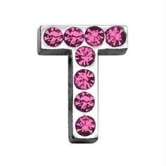 "3-4"" (18mm) Pink Letter Sliding Charms T 3-4 (18mm)"
