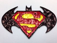 Batman Superman Logo Quilled Art 5x7 framed art by jgaCreations