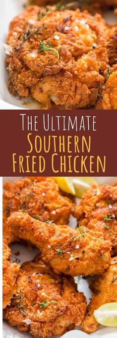 Ultimate Southern Fried Chicken - You guys, get ready for some serious indulgence. THE ULTIMATE Southern fried chicken here. This is simply the best fried chicken you'll ever make! Fried Chicken Batter, Best Fried Chicken Recipe, Fried Chicken Dinner, Making Fried Chicken, Chicken Wing Recipes, Baked Chicken, Fried Chicken With Buttermilk, Crispy Fried Chicken, Fried Chicken Wings
