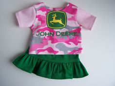 Sparkle John Deere Up-Cycled T-Shirt with Green Skirt - Fits 18 inch Girl dolls by AuntSissyOriginals on Etsy