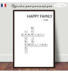 Affiche personnalisée scrabble avec prénoms de votre famille. déco minimaliste, fond blanc lettres gris foncé. décoration maison intérieur originale. Francais!