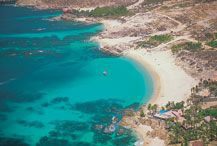 aerial view of chileno beach and bay los cabos, mexico