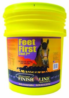 Finish Line Horse Products Feet First by Finish Line Horse Products. $37.50. Is an effective feed supplement for healthier hooves, coat and skin.. Has the best fatty acid sources such as Flax, Olive Oil and Wheat Germ Oil. Your horses will love the taste. 2.25-Pounds Feet First is a complete supplement promoting healthy equine hoof growth. Feet First was developed over a 24 month time span with veterinarians, blacksmiths and trainers. Flax Seed is a quality source of...