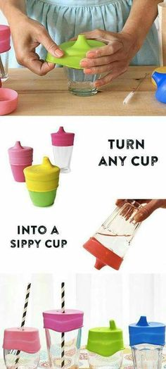 Turn ANY cup into a sippy cup with these stretchable lids. Just keep a couple in the diaper bag so they're on hand whenever you need one- at a resturant, visiting friends, on vacation, whenever. GENIUS!!!! I LOVE this! {aff}