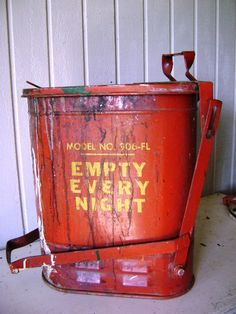 Vintage Industrial Garbage Can Red Metal Mechanic by junquegypsy, $118.00