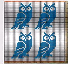 Potholder Eagle Owls Here I offer only the chart pattern for a potholder. I am assuming that you are familiar with the double-faced knitting . Cross Stitch Owl, Cross Stitch Alphabet, Cross Stitching, Cross Stitch Patterns, Owl Knitting Pattern, Knitting Charts, Mochila Crochet, Crochet Owls, Crochet Food