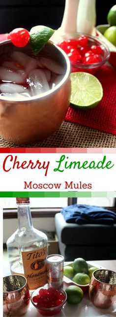 Cherry Limeade Moscow Mules! Super easy cocktail recipe and SO DELICIOUS…