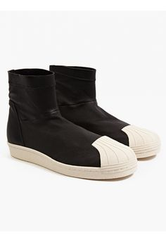 adidas by Rick Owens Men's Black Superstar Hi-Top Sneakers | oki-ni