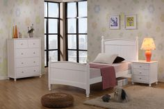 Brooke single or king single bed with bed side table and tallboy. Simple elegant white can be decorated with anything.