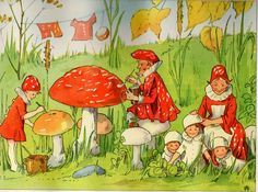 Illustration from The Mushroom Fairies'-Amanita Fairy Family? Elsa Beskow, Mushroom Images, Mushroom Art, Stockholm, Old Children's Books, Postcard Art, Fairy Art, Typography Prints, Faeries