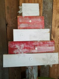 Rustic, recyled pallet wood candy cane xmas tree door hanger