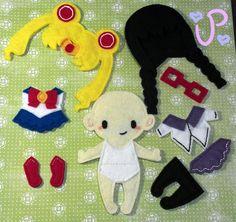 Sailor Moon and Homura Akemi outfits for my dress up dolls #magicalgirl #mahoushoujo #madokamagica #felt
