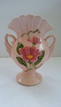 Vintage 1940 Hull Pottery Magnolia Gloss Flare Rim Footed Double Handle H6 Vase