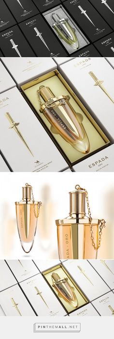 Espada Oro / Espada Nero - Packaging of the World - Creative Package Design Gallery - http://www.packagingoftheworld.com/2016/08/espada-oro-espada-nero.html Perfume Packaging, Luxury Packaging, Beauty Packaging, Bottle Packaging, Cosmetic Packaging, Brand Packaging, Cosmetic Design, Bottle Design, Packaging Design Inspiration