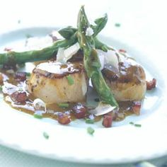 Pan-seared Scallops with Asparagus and Pancetta | MyRecipes.com  Try it with: Sancerre, Chardonnay    Julia loves: 2005 Domaine André Neveu Sancerre, about $30    Asparagus is often tricky with wine, but the combination of sweet scallops and salty/smoky pancetta will stand out with a medium- to full-bodied white.