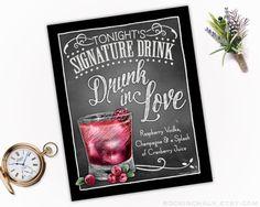 Signature Drink Sign Chalkboard Style Decor by RockinChalk