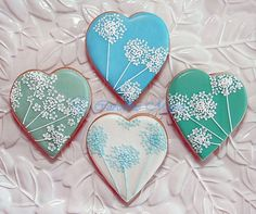 Lace Flower Heart cookies..