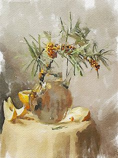 Sea-buckthorn and melon Vitaly Shchukin Watercolor Sketch, Watercolor Paintings, Flower Paintings, Watercolours, Still Life Flowers, Love Art, Painting Inspiration, Sea Berries, Drawings