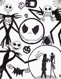 nightmare before christmas COLORING PAGES!