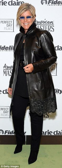 Influential: Author Suze Orman, left, in leather joined in the fun as did New York Fashion...