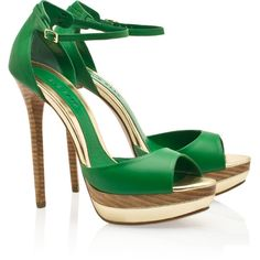 ELIE SAAB Peep Toe Platform Sandals ❤ liked on Polyvore