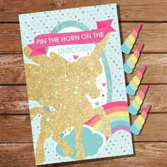 Unicorn Party Game Pin The Horn On The Unicorn by Sunshine Parties
