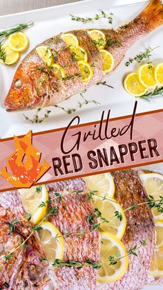 Grilled whole red snapper. Moist and flaky with fresh herbs and lemon. This easy to follow recipe is sure to impress at your next cookout. #snapper #grilledsnapper #rednsapper #grilling #grilledfish #wholefish #biggreenegg #fish
