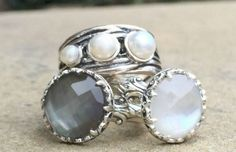 Grace&Heart offers a selection of beautiful silver rings. The ones shown here feature labradonite, mother of pearl and a trio of pearls. Order them at http://www.mygraceandheart.com/PATPAPE/.