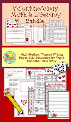 Enjoy Valentine's Day with a bundle of fun. Included in this bundle are: Valentine's Math Stations, Valentine's Day Silly Sentences for Fluent Readers, Specialty Writing Papers, and Valentine's Day Roll a Story