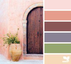 design seeds, color palette, a door hues Exterior Paint Colors For House, Paint Colors For Home, Exterior Colors, Exterior Design, Colour Pallette, Colour Schemes, Color Patterns, World Of Color, Color Of Life