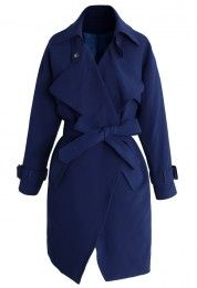Textured Belted Trench Coat in Indigo Blue