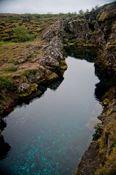 One of the tectonic rifts in Thingvellir park in Iceland. LOVE the blue!